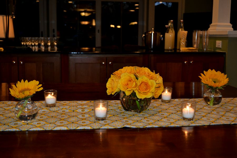 Progressive Dinner- Serving Table with Roses