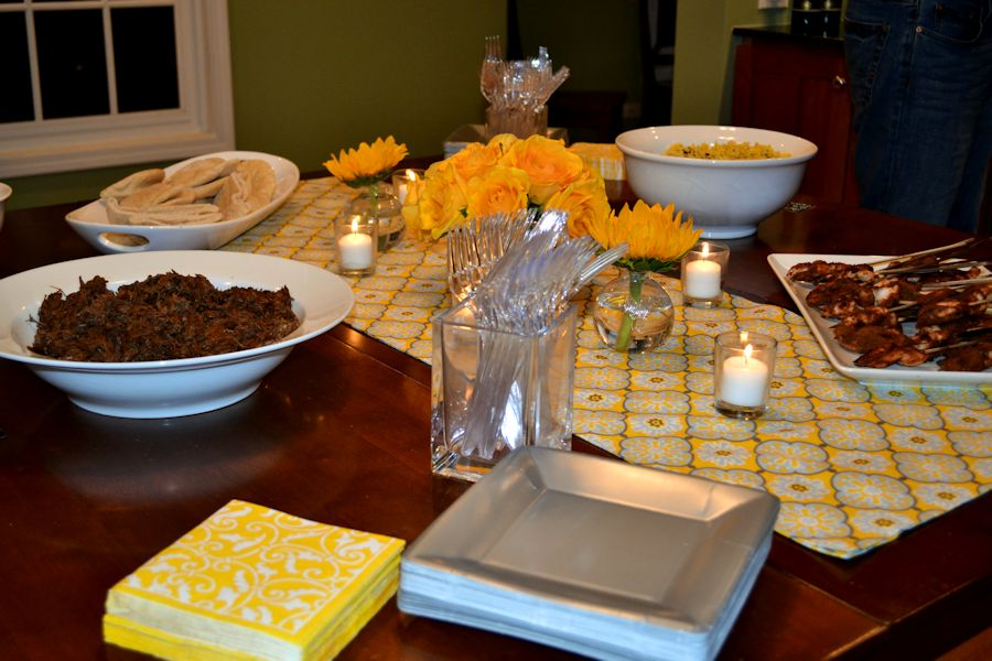 Progressive Dinner- Serving Table with flowers
